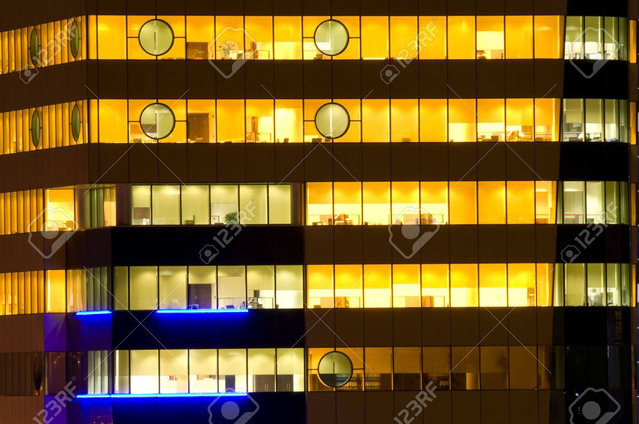 Cloce-up Of The Office Windows At Night Stock Photo, Picture And ...