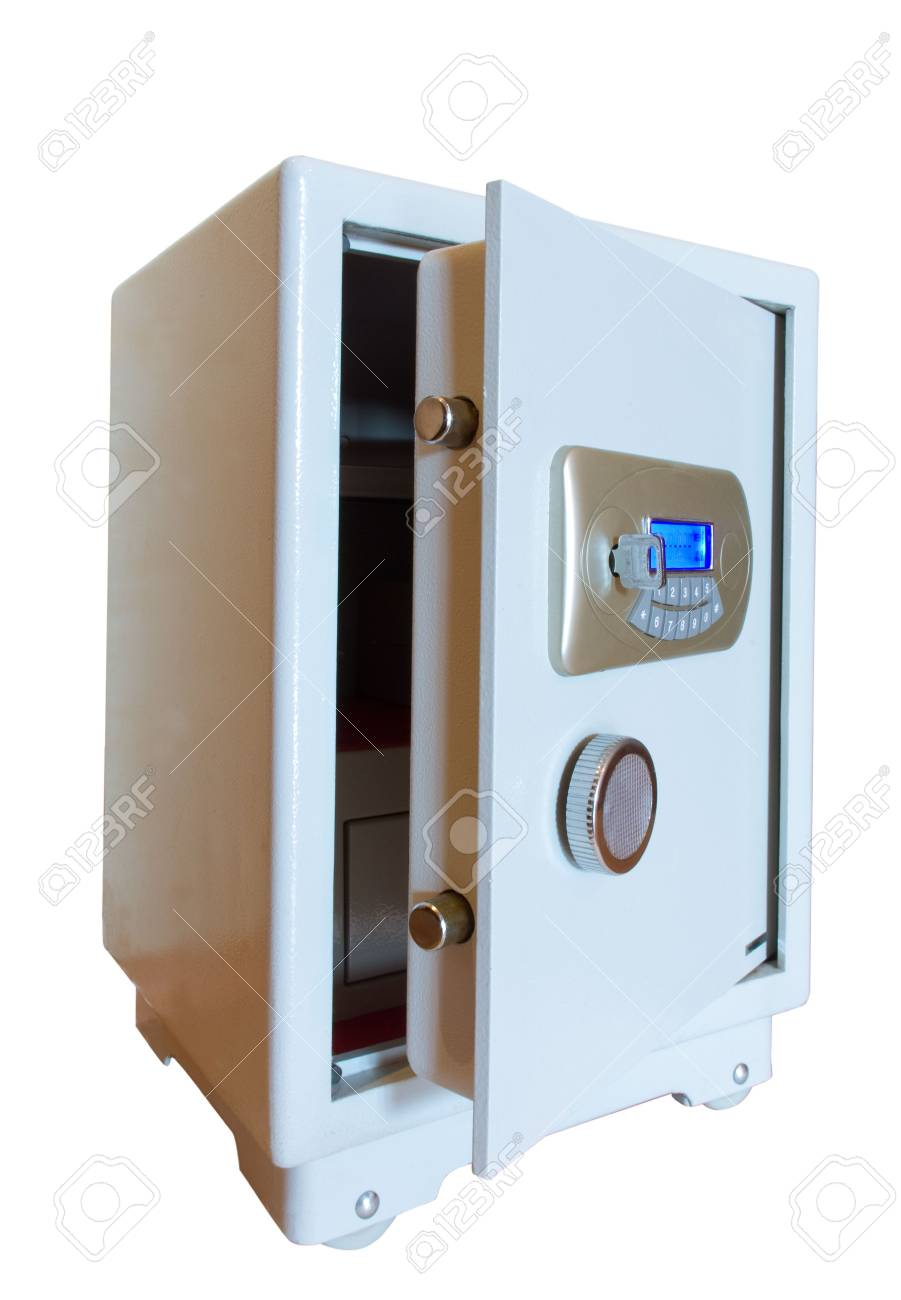 open electronic digital safe isolated on white