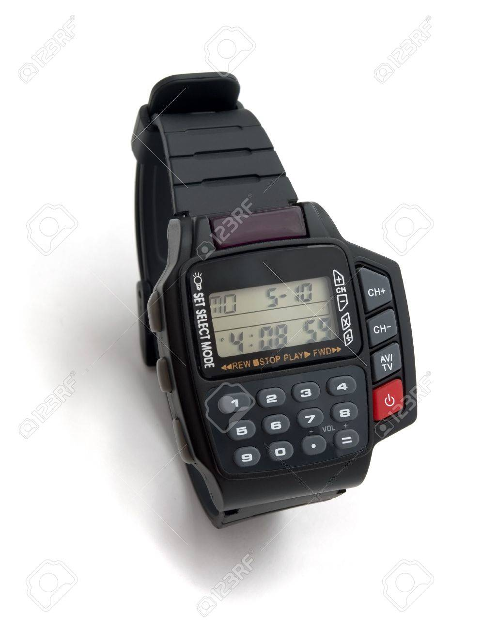 Electronic wristwatch with calculator and remote control isolated on white Stock Photo - 6958462