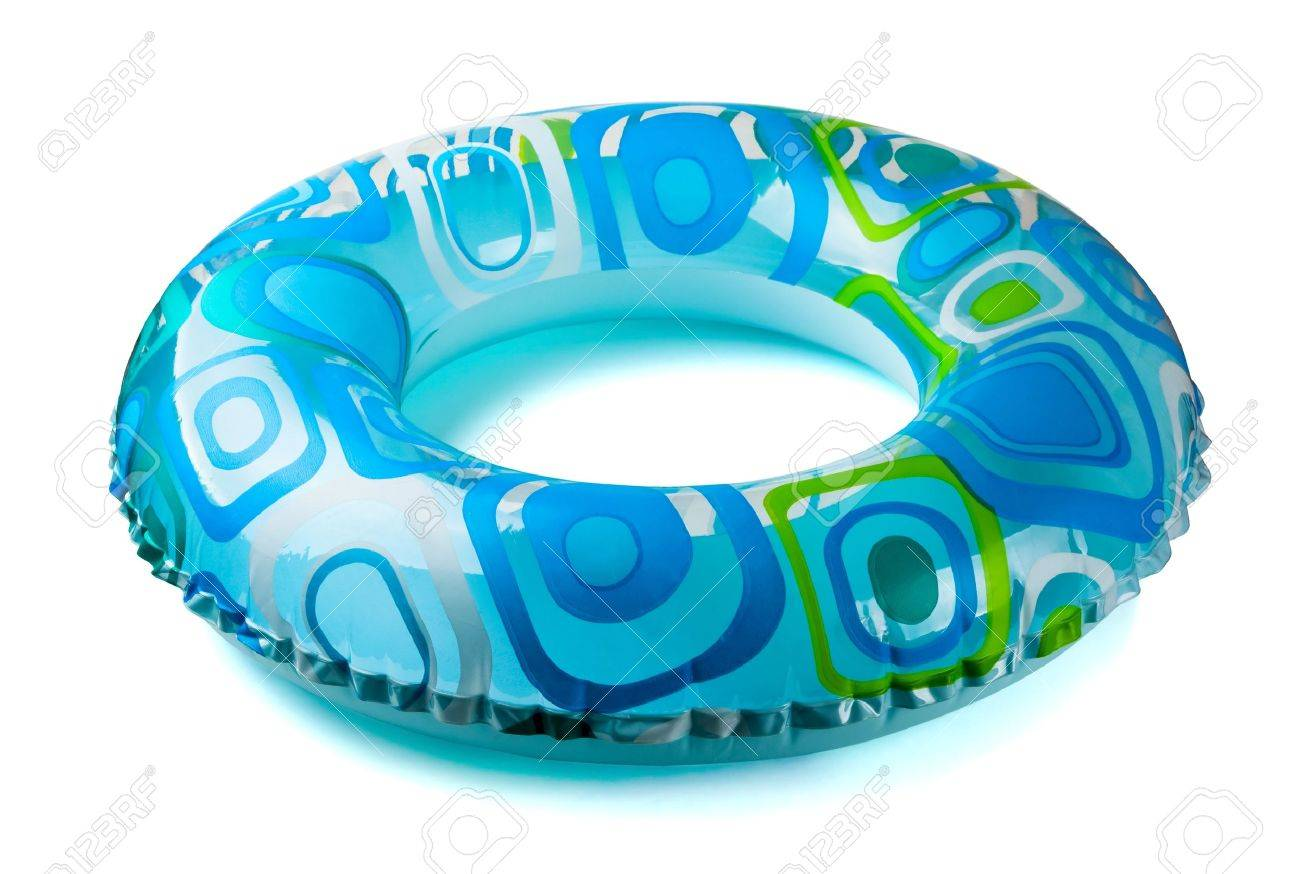 Blue inflatable round  tube isolated on white Stock Photo - 7295591
