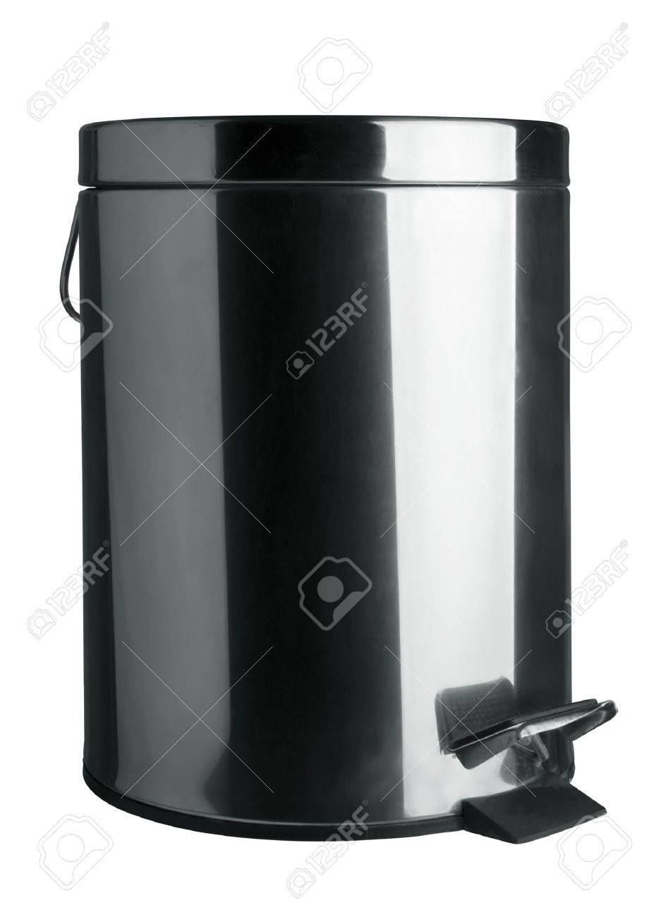 stainless steel garbage bin isolated on white stock photo