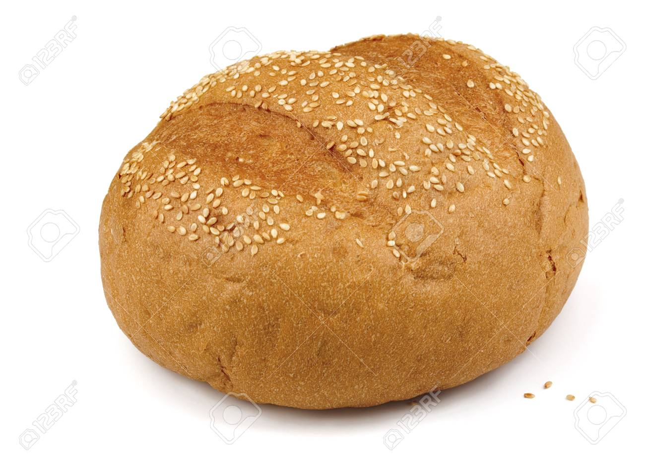Fresh baked sesame bun isolated on white Stock Photo - 8152100
