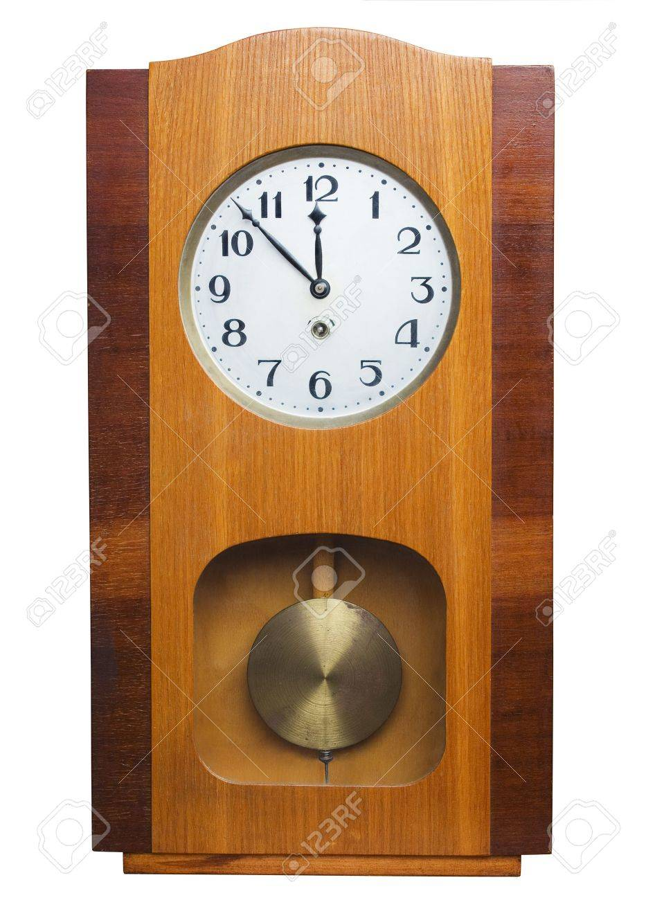 Old Wooden Wall Clock Isolated On White Stock Photo Picture And