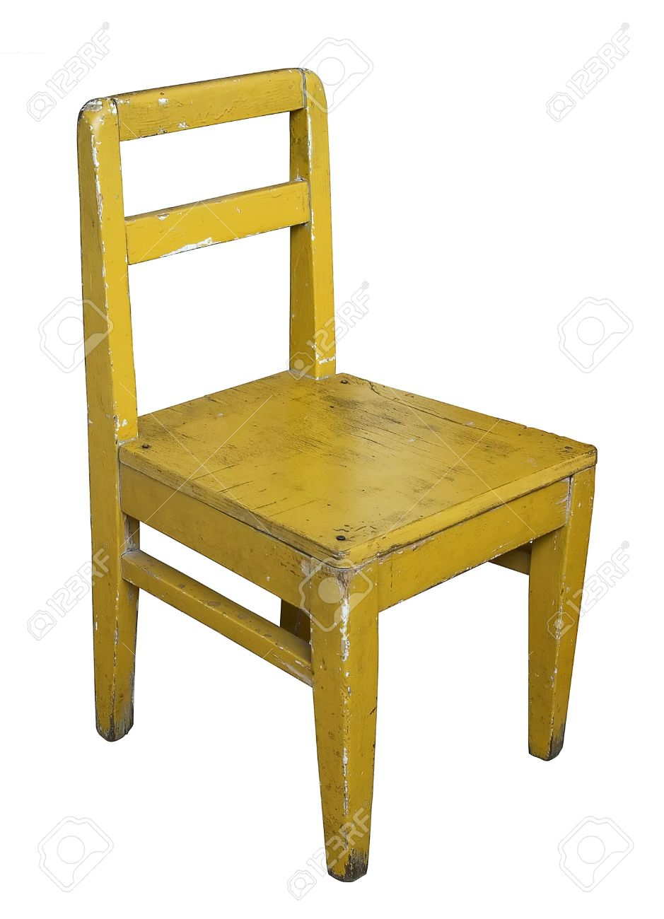 Awe Inspiring Small Old Painted Wooden Chair Isolated On White Home Interior And Landscaping Oversignezvosmurscom
