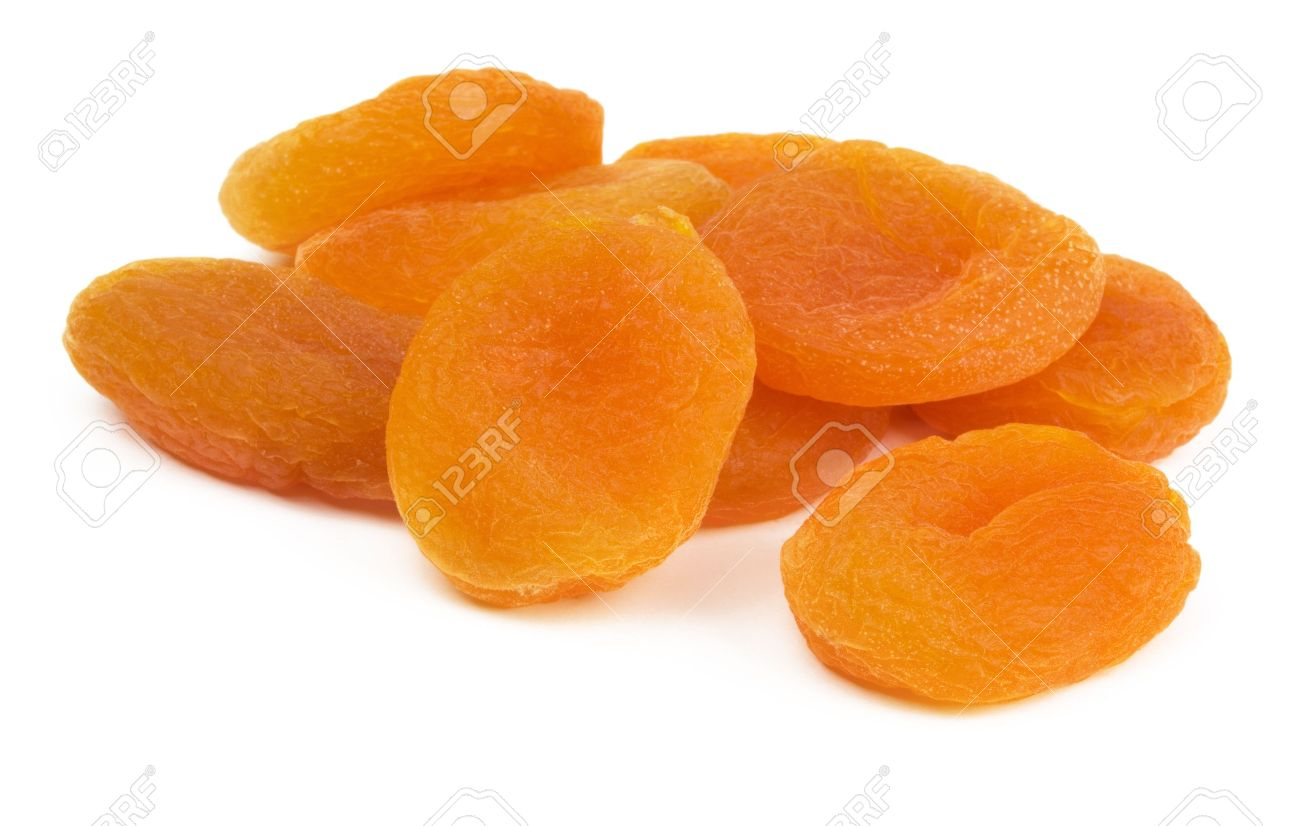 Ripe sweet  dried apricots isolated on white Stock Photo - 8344410