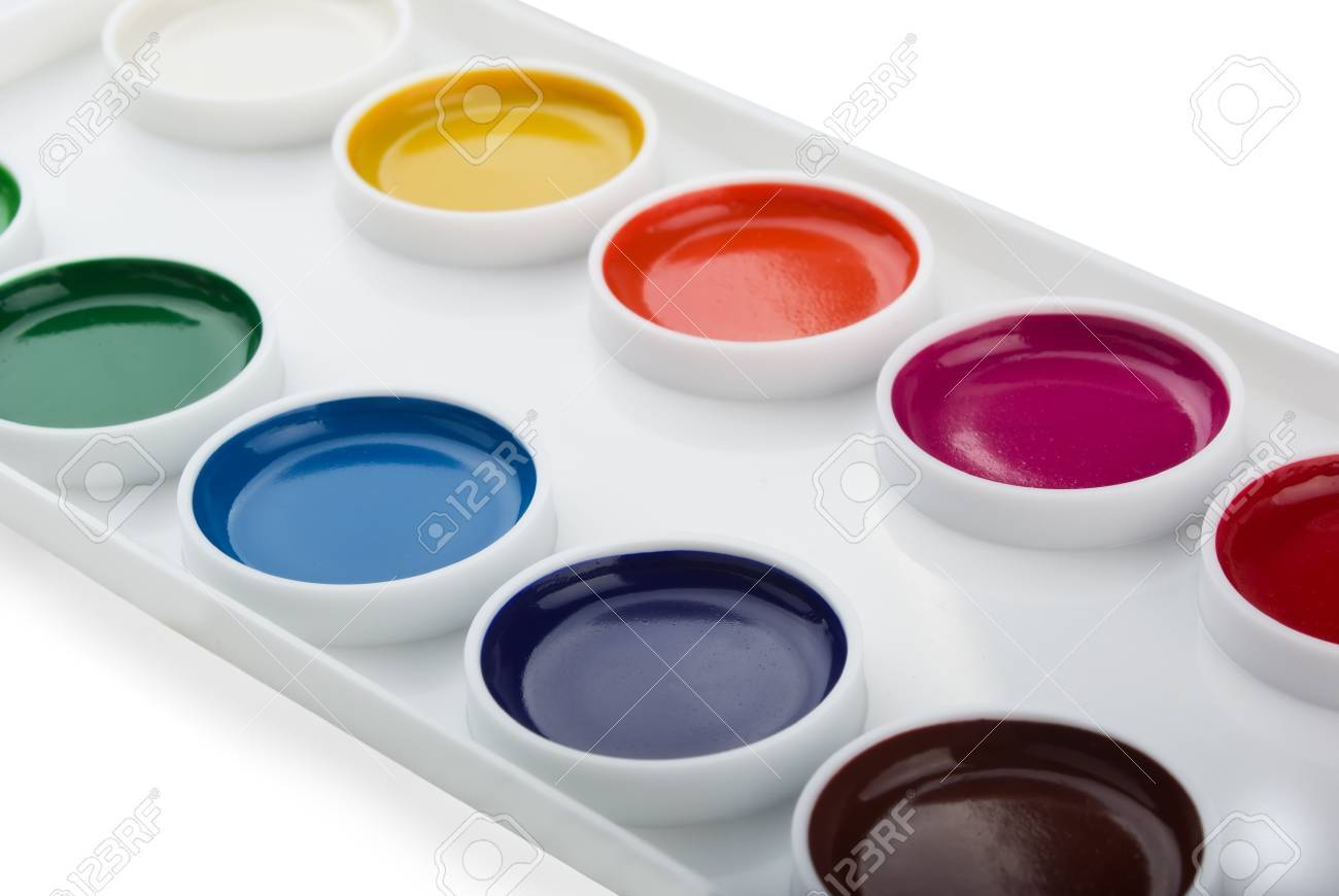 new box of watercolor paints isolated on white stock photo