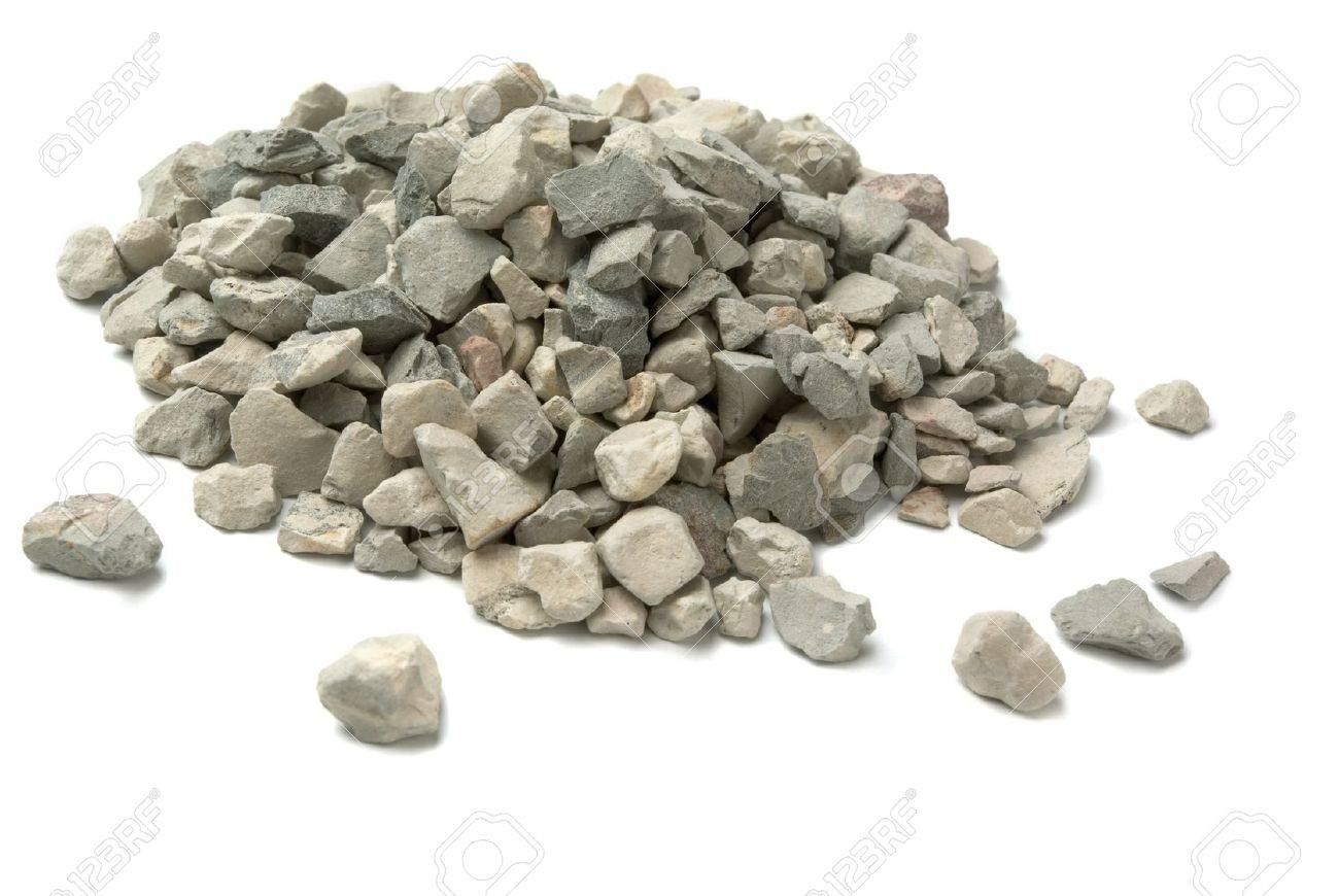 Pale of crushed stone isolated on white - 9575376