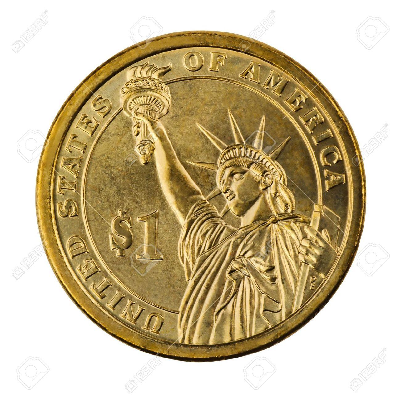 Golden One Dollar Münze Isoliert Auf Weiß Lizenzfreie Fotos Bilder
