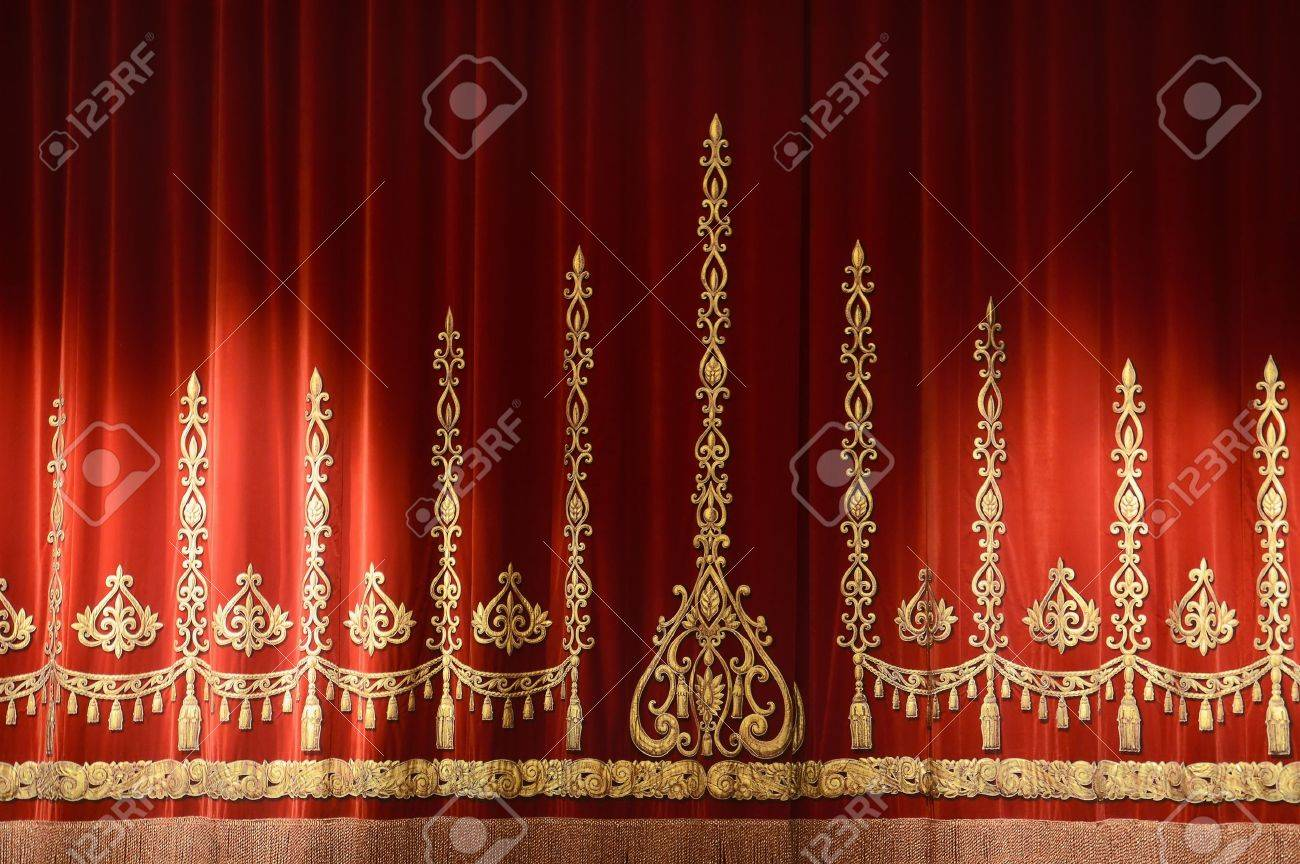 Red And Gold Stage Theater Curtain Background Stock Photo Picture