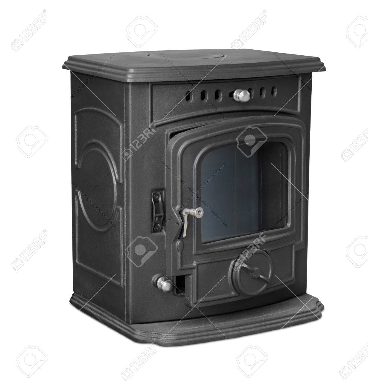 New cast iron wood stove isolated on white Stock Photo - 15437656