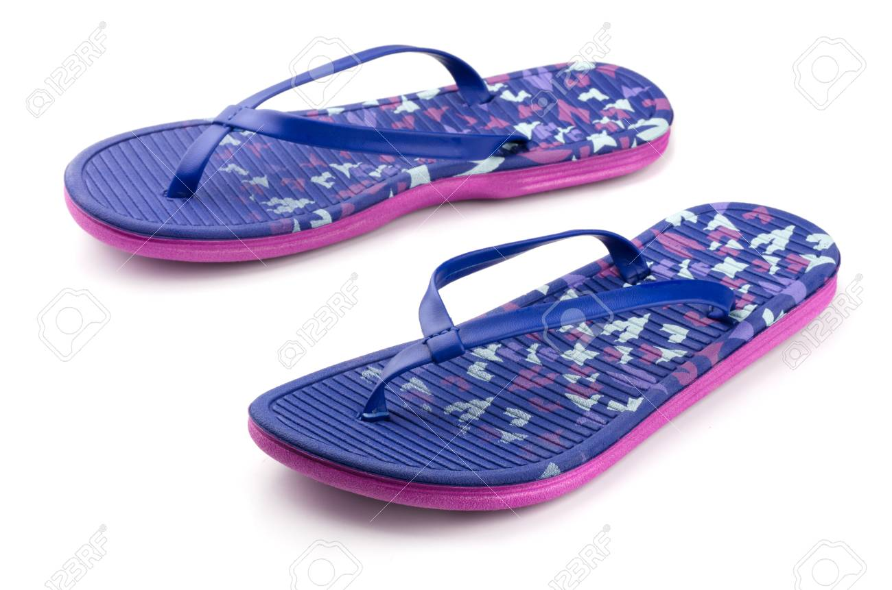 3a3d4d817cb5 Pair of blue flip flops isolated on white Stock Photo - 15829138