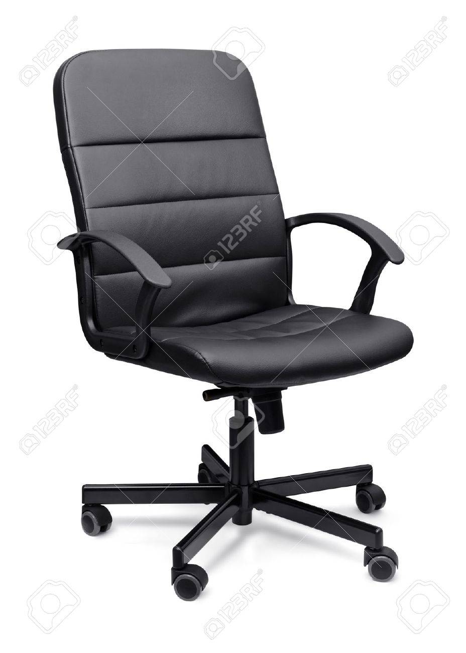 black leather office chair isolated on whit stock photo, picture