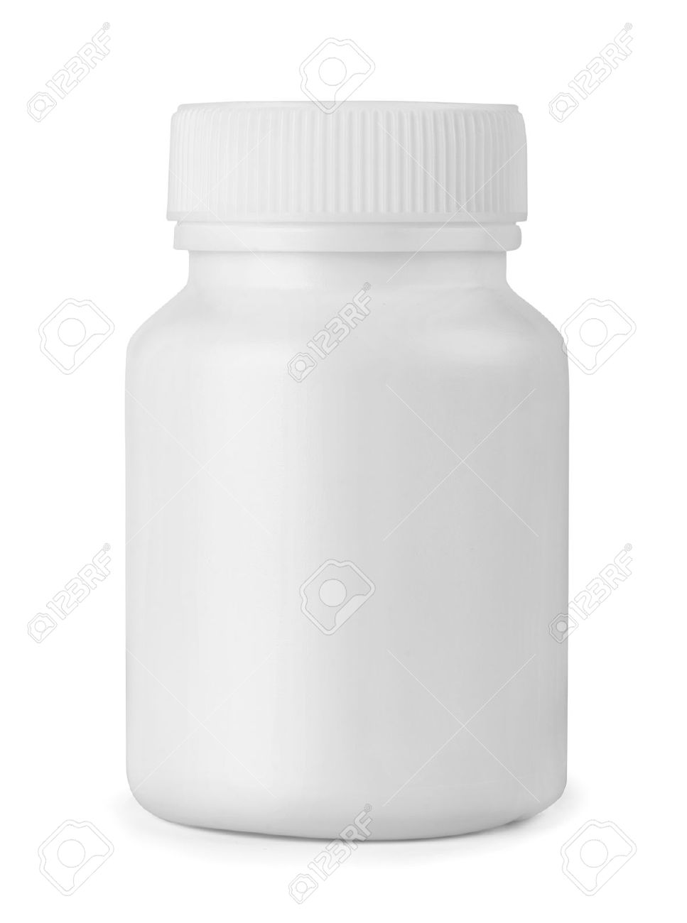 White plastic medicine bottle isolated on white Stock Photo - 17043288