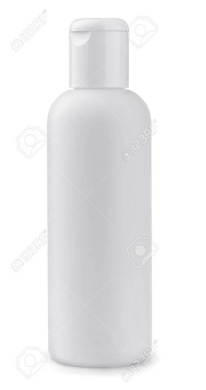White plastic cosmetic bottle isolated on white Stock Photo - 18496029