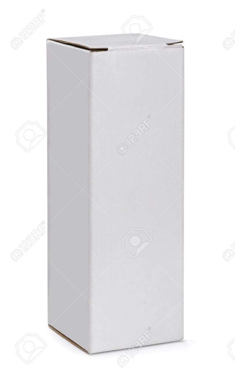 Tall white cardboard box isolated on white Stock Photo - 18866585