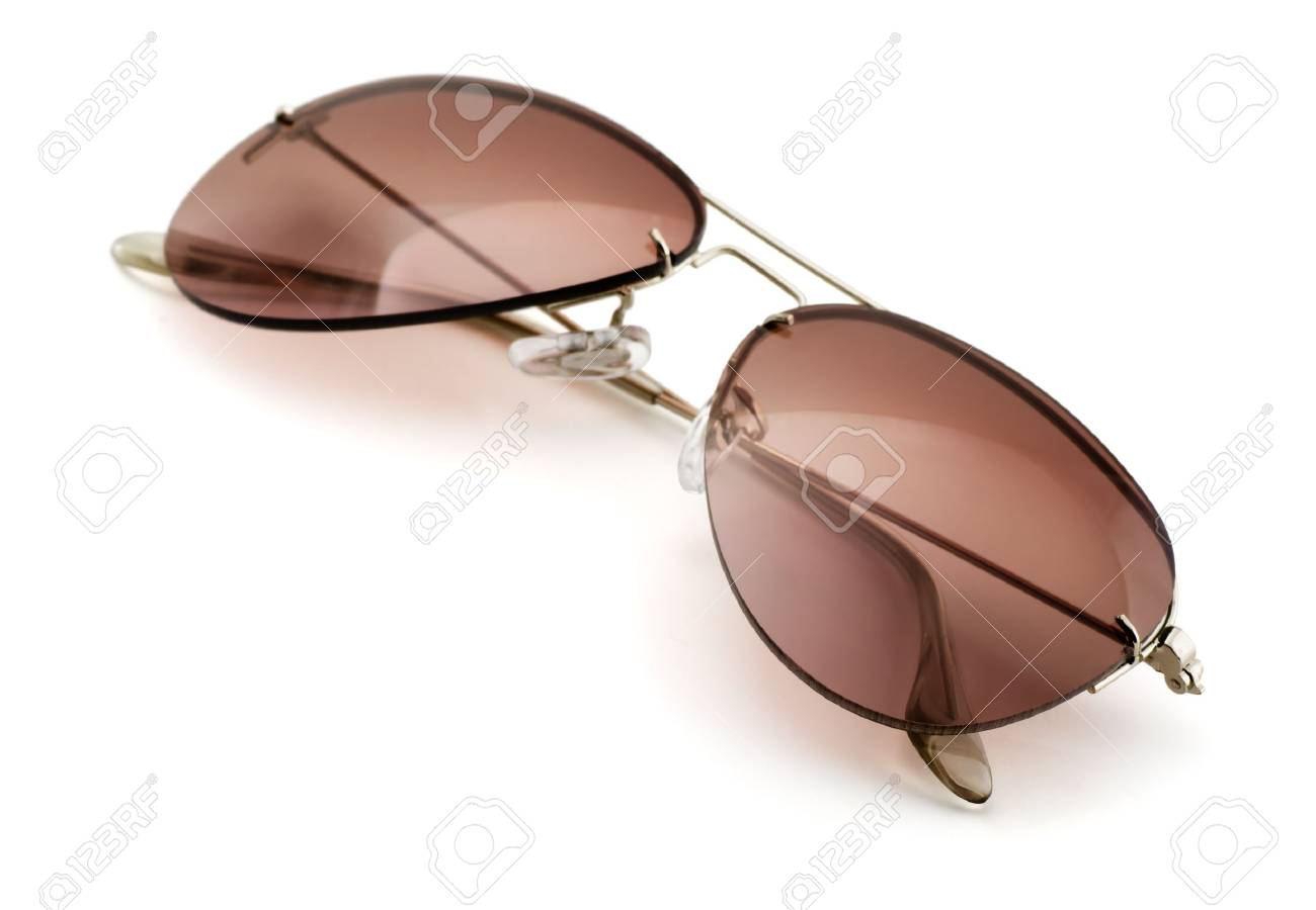 Brown aviator style sunglasses isolated on white Stock Photo - 20280192