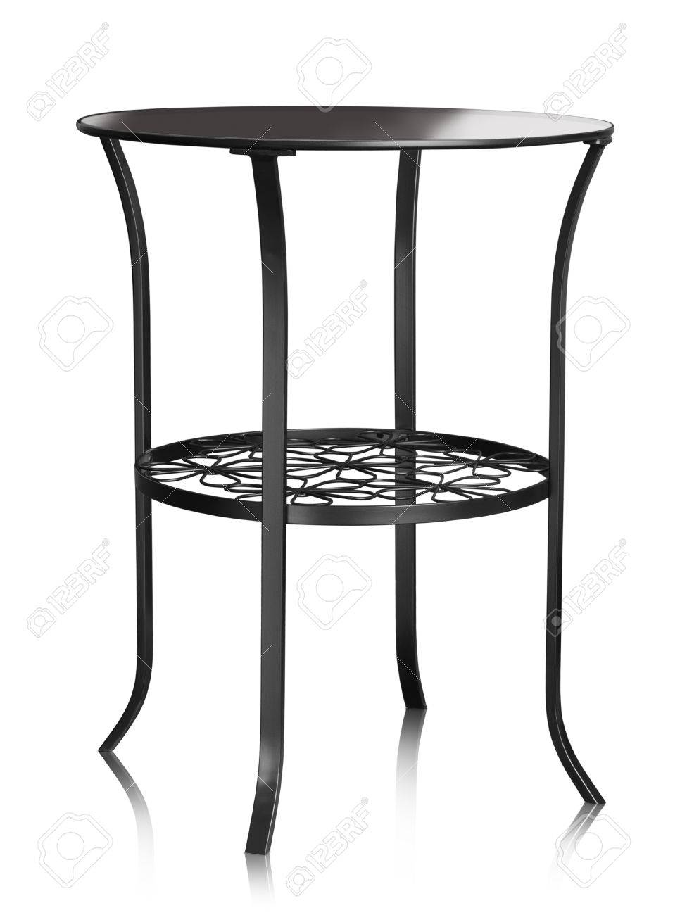 Coffee table made of metal and glass isolated on white Stock Photo - 24745672