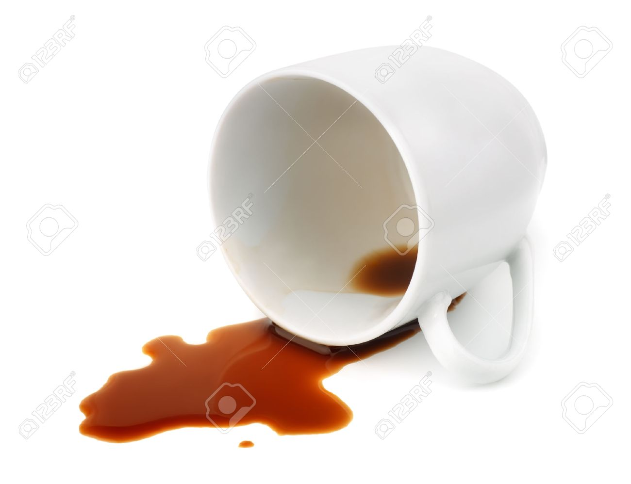 Coffee On White Isolated Spilled Fallen With Cup CxErdQWBeo
