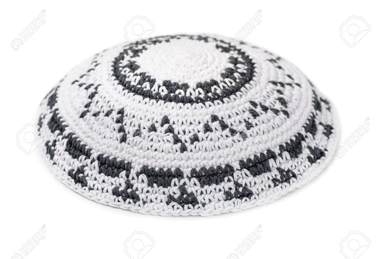 White Knitted Jewish Yarmulke Isolated On White Stock Photo, Picture ...