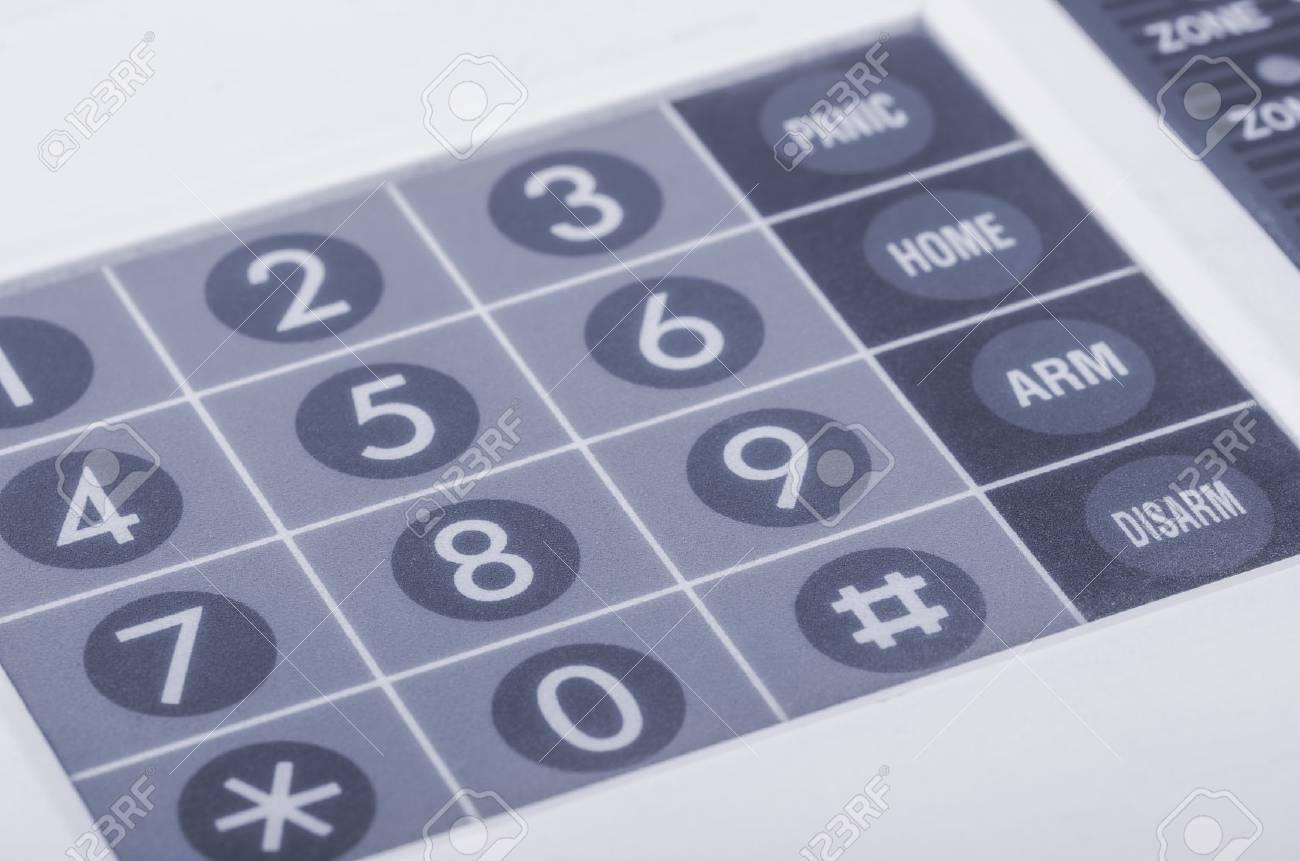 Close up of home alarm system keypad - 48066295