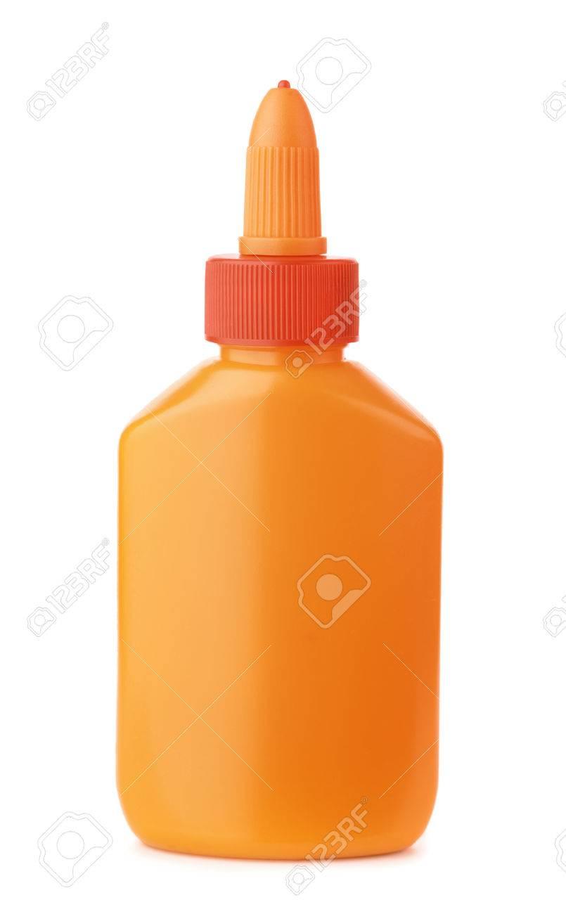 orange plastik leim flasche isoliert auf weiß lizenzfreie fotos