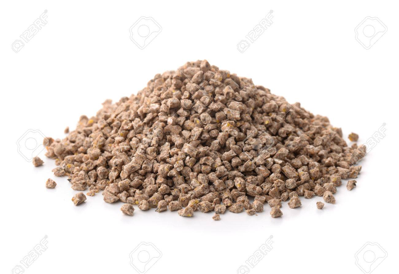 Pile of compound feed pellets isolated on white - 59336933