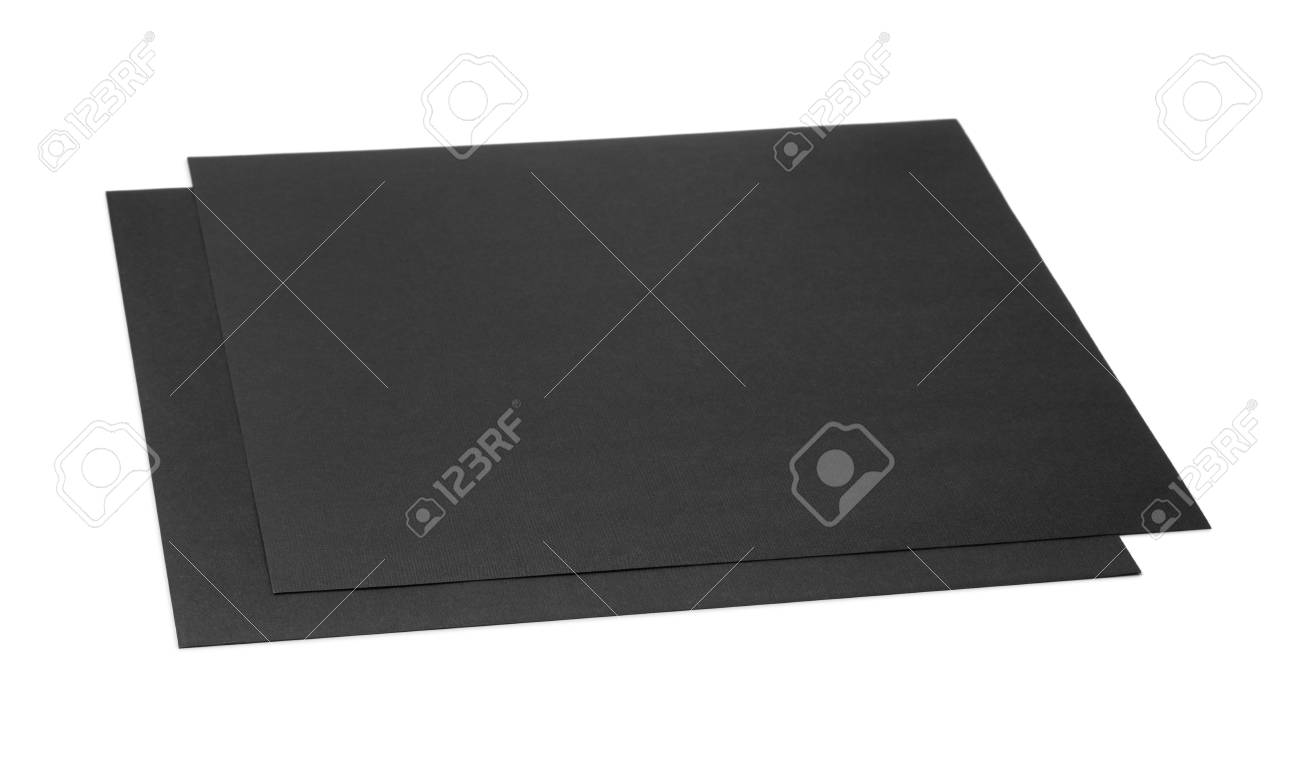 Two Sheets Of Black Craft Cardboard Isolated On White Stock Photo
