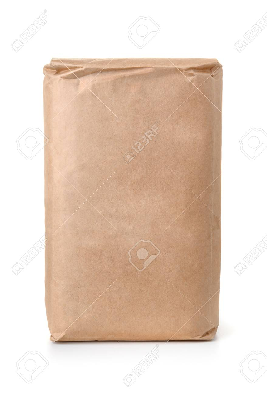 Front view of blank brown paper bag isolated on white - 64727682
