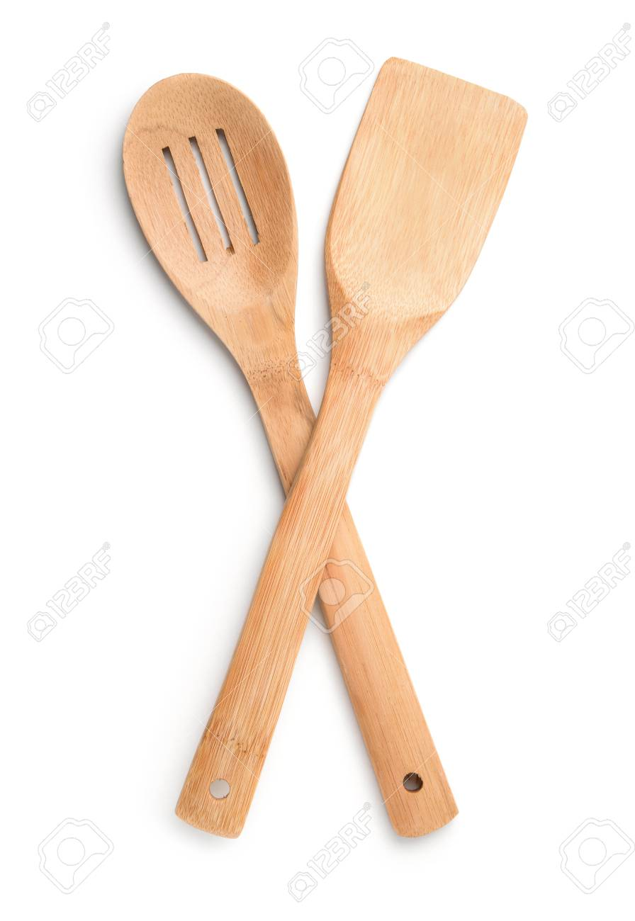 Top view of wooden kitchen spoon and spatula isolated on white - 77961254