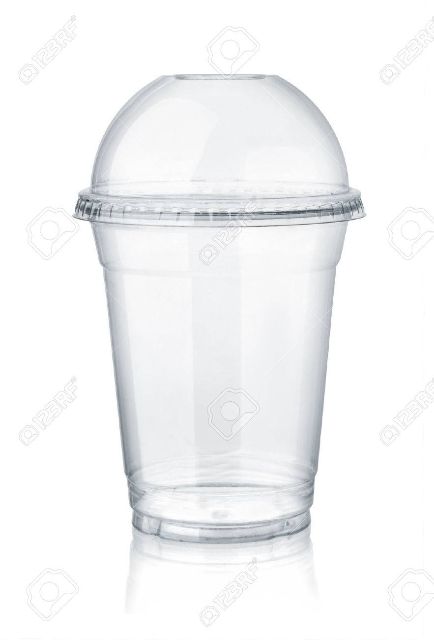 Plastic clear cup with dome lid isolated on white - 80405104