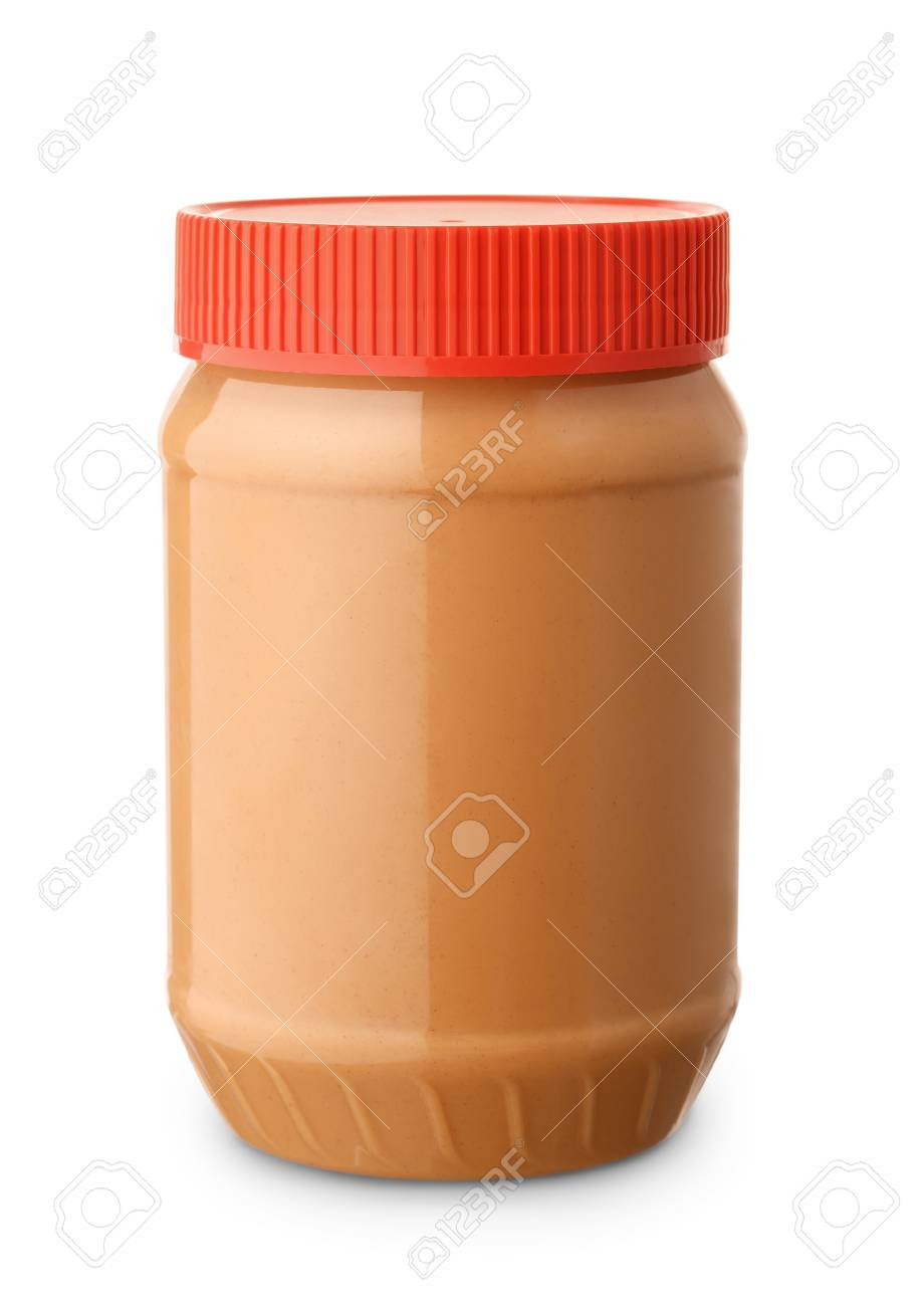 Jar of peanut butter isolated on white - 82320421