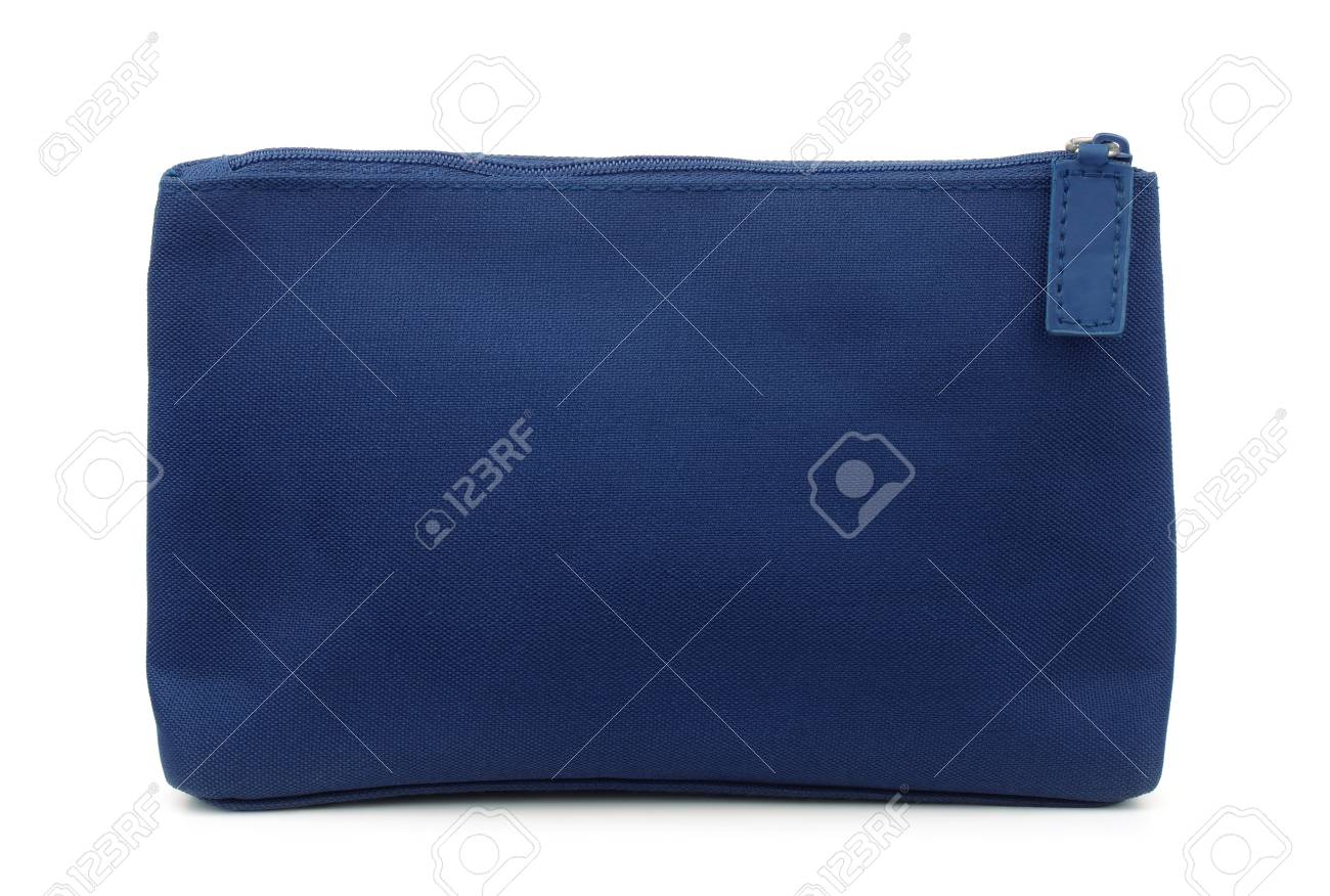 Side view of blue toiletry bag isolated on white - 88069542