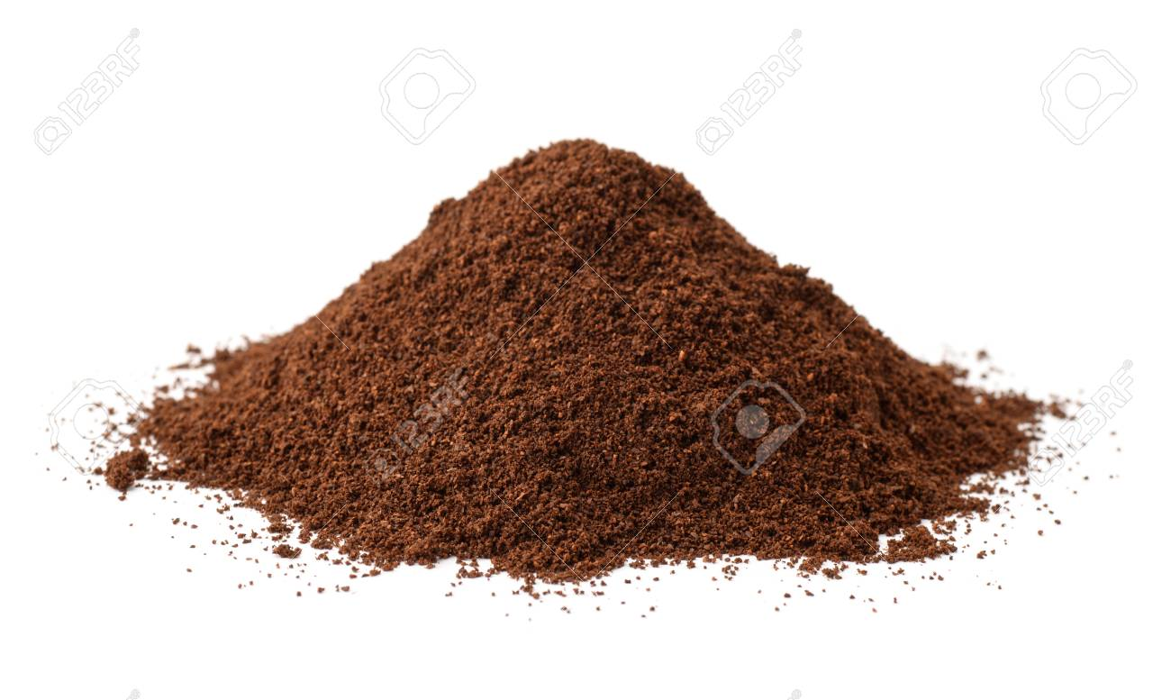 Pile of fresh ground coffee isolated on white - 92059309