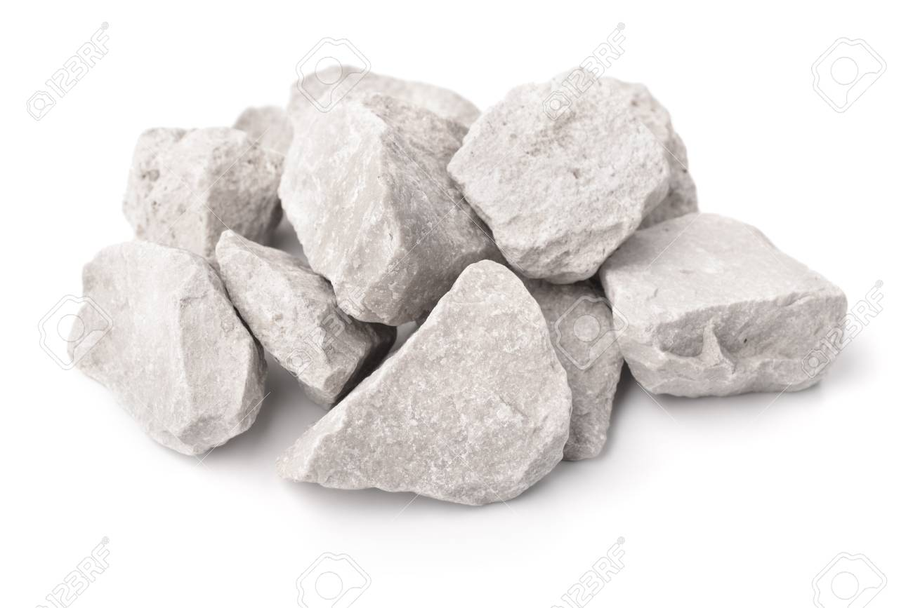 Crushed marble stones isolated on white - 109688344