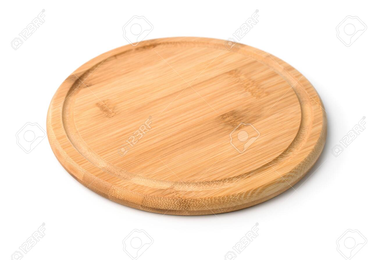 Round Wooden Cutting Board Isolated On Whit Stock Photo Picture And Royalty Free Image Image 123992505