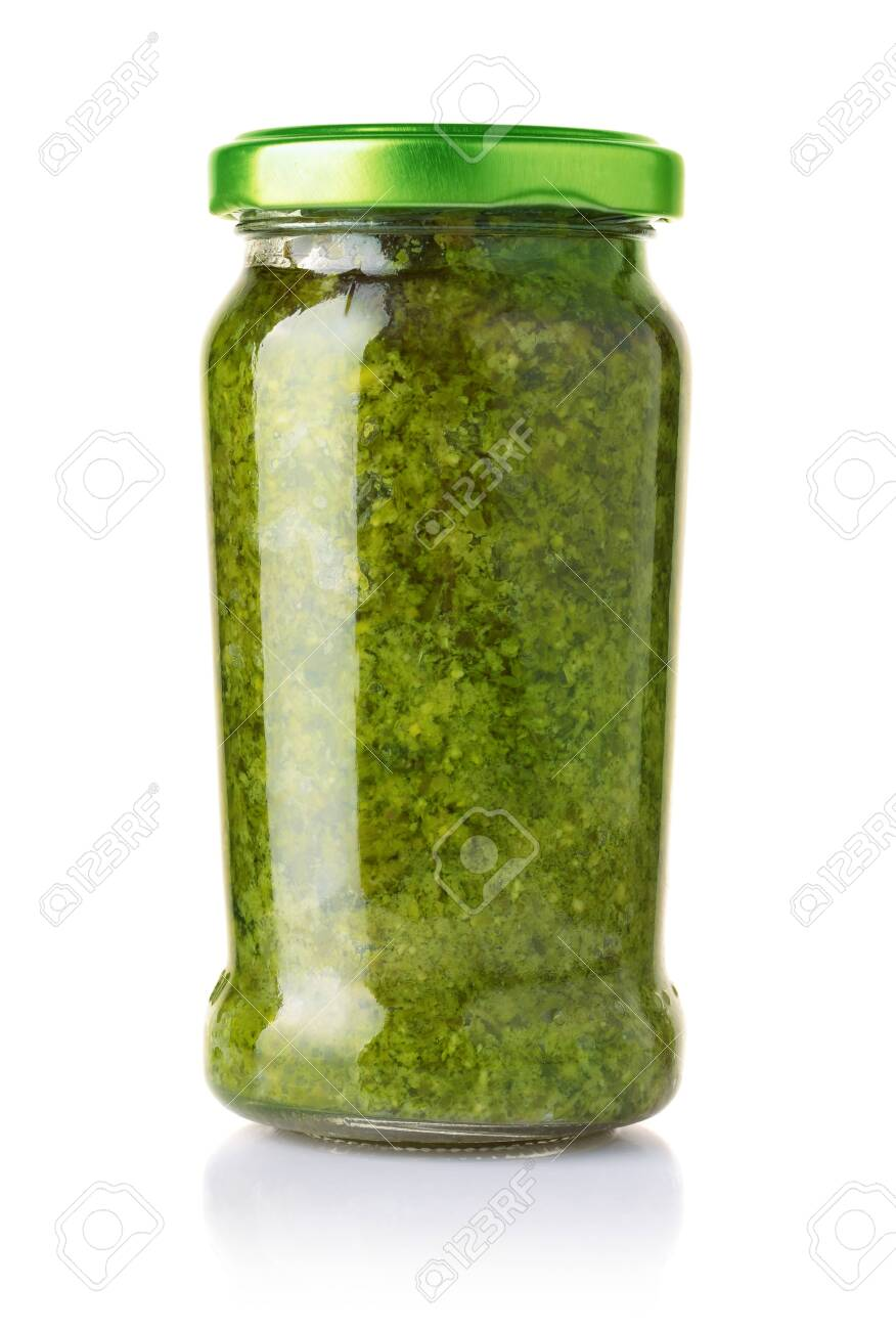 Glass Jar Of Pesto Sauce Isolated On The Stock Photo Picture And Royalty Free Image Image 125021714