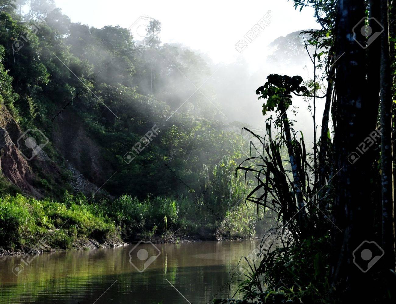 A sunrise along the Tambopata River in the Peruvian Amazon Stock Photo - 12154186
