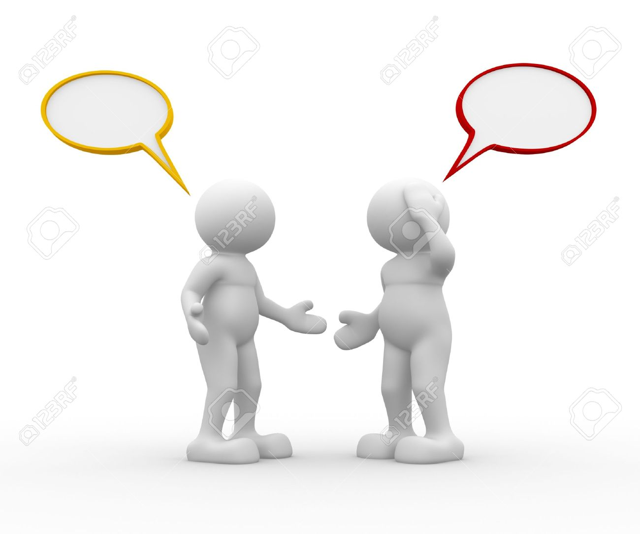 Two people talking - This is a 3d render illustration Stock Illustration - 14664802