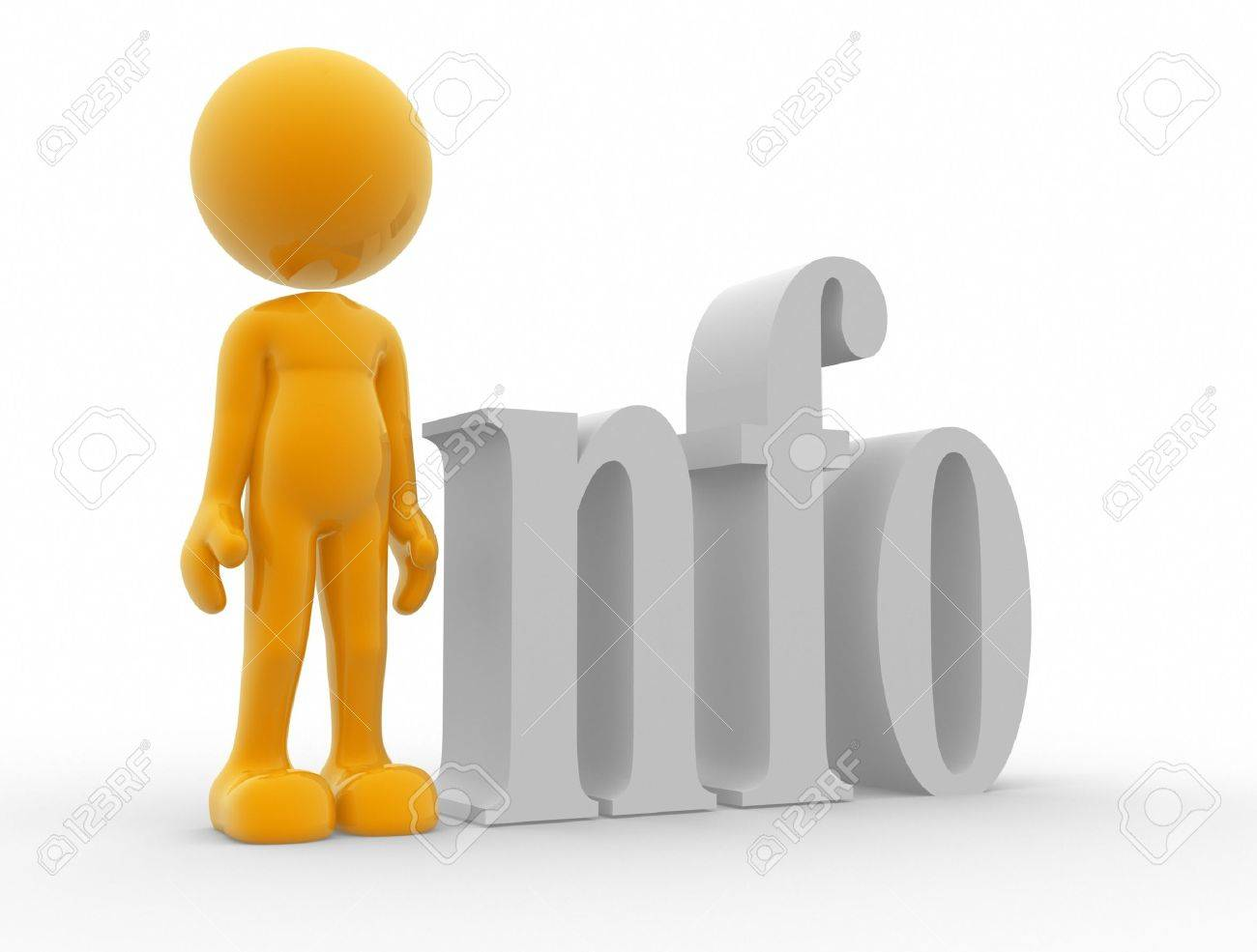 Text info with 3d human character - This is a 3d render illustration Stock Photo - 14664845