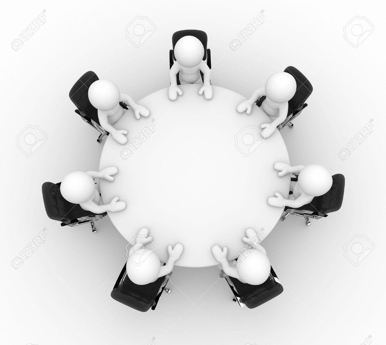 Immagini Stock 3d Persone Al Tavolo Della Conferenza Con Le Imprese Posti A Sedere Questo E Un Esempio Di Rendering 3d Image 14664915