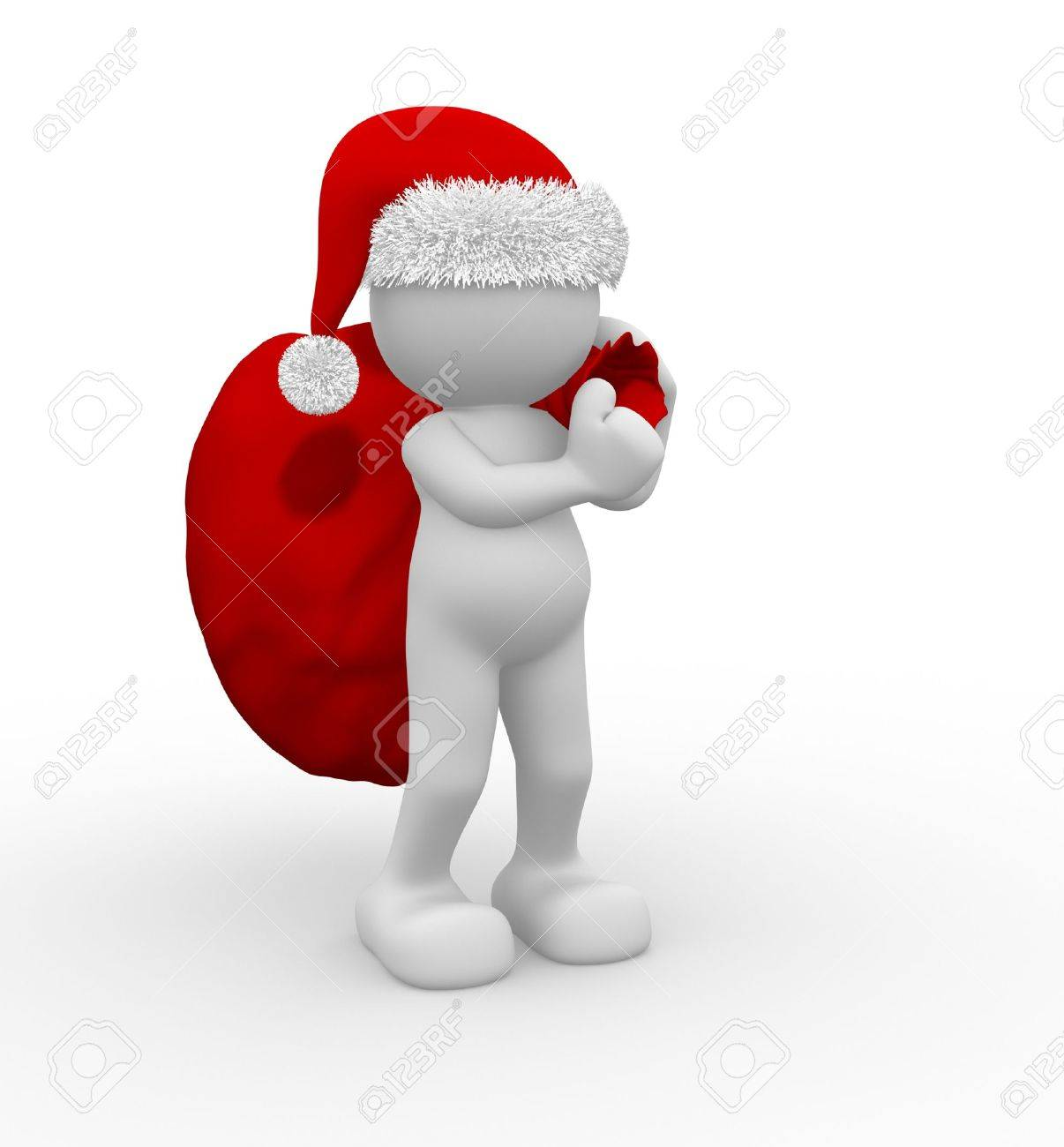 3d people - human character Santa Claus  with bag full of gifts. 3d render illustration Stock Photo - 14664948