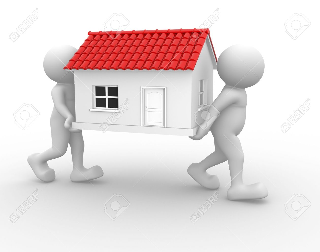 3d people - human character and a house. 3d render illustration Stock Photo - 14664978
