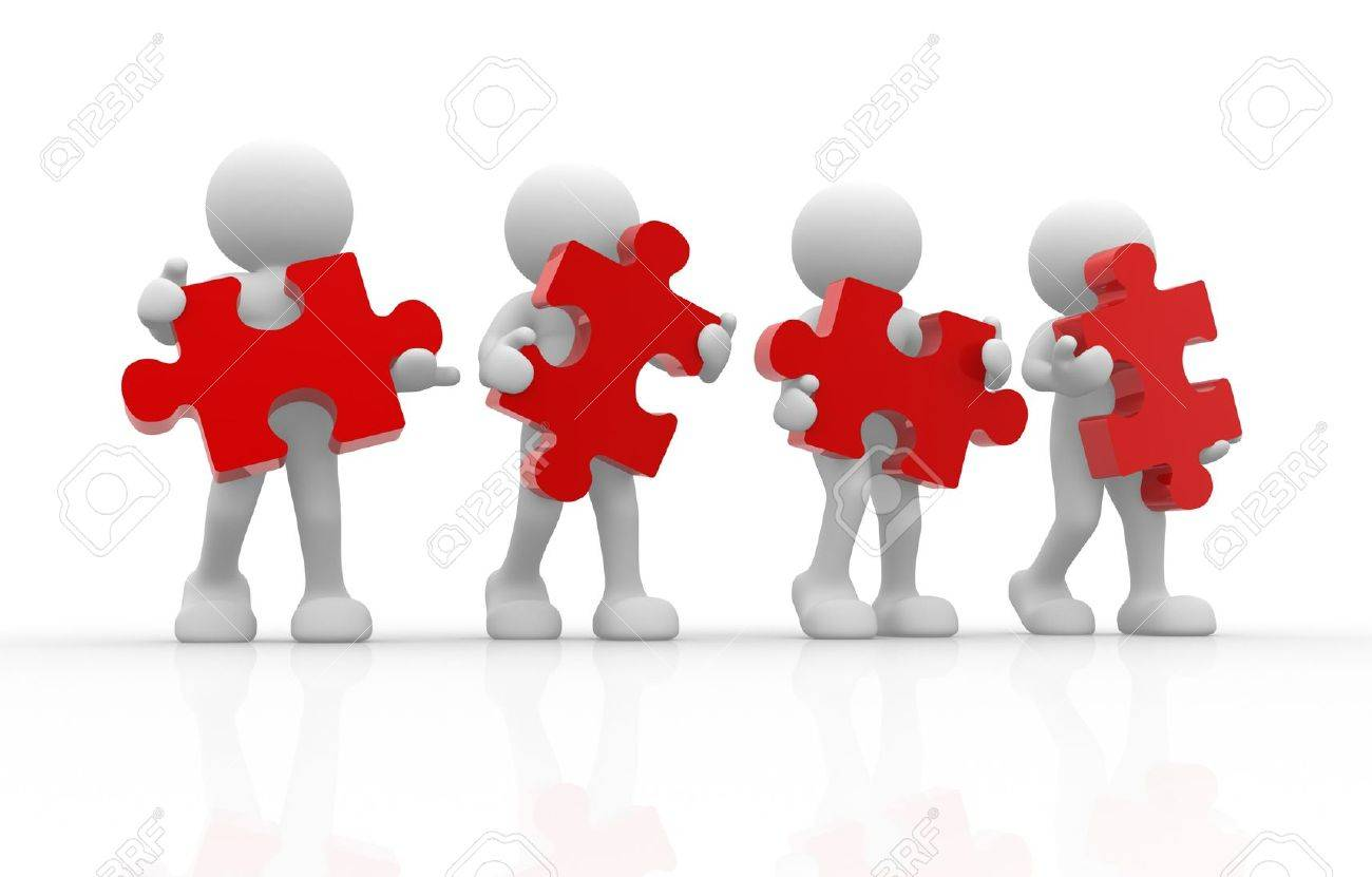 3d people - human character with puzzle. 3d render illustration Stock Illustration - 14664936