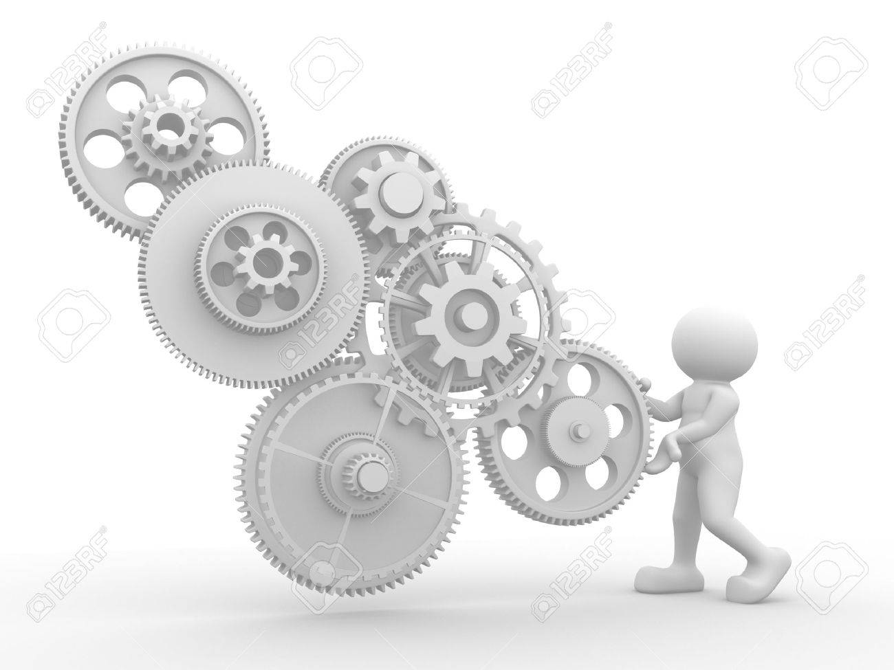 3d people - human character  with gear mechanism  3d render illustration Stock Photo - 14664975