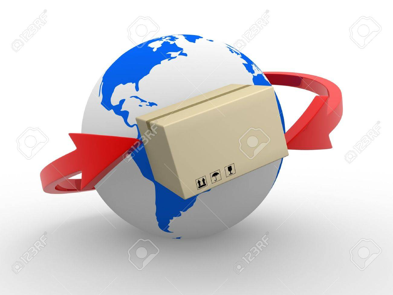 Concept of delivering packages worldwide  Earth globe and arrows  3d render Stock Photo - 14665006