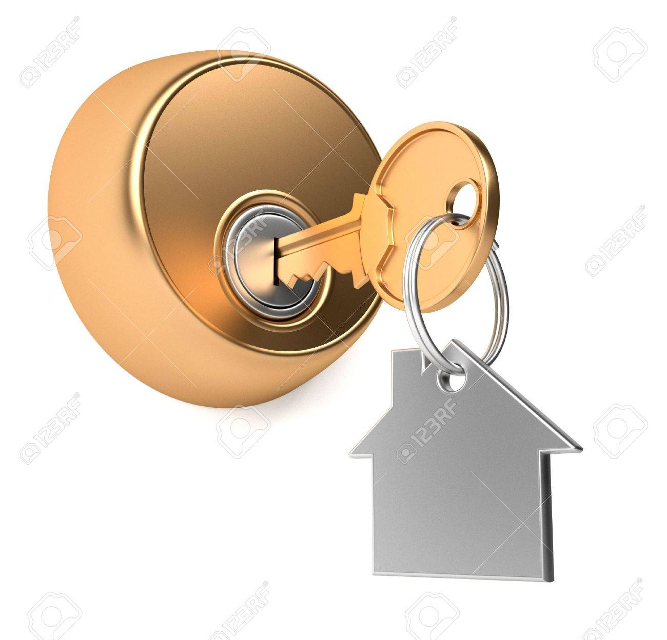 With golden key 3d rendering plan concept with golden key 3d rendering - House Key Golden Key In Keyhole With Label 3d Render Illustration Stock Photo