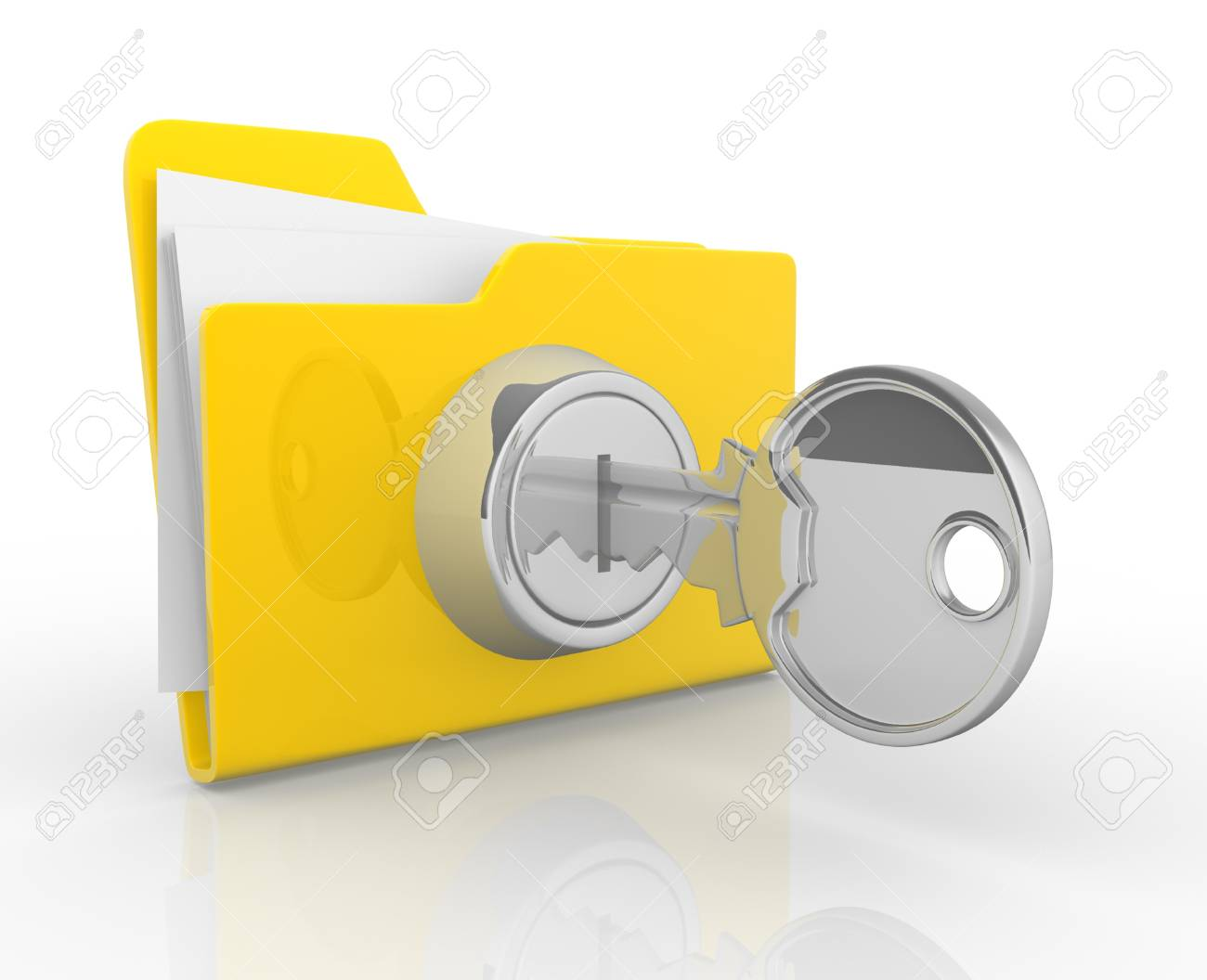 Key and yellow folder  This is a 3d render illustration Stock Illustration - 14717361
