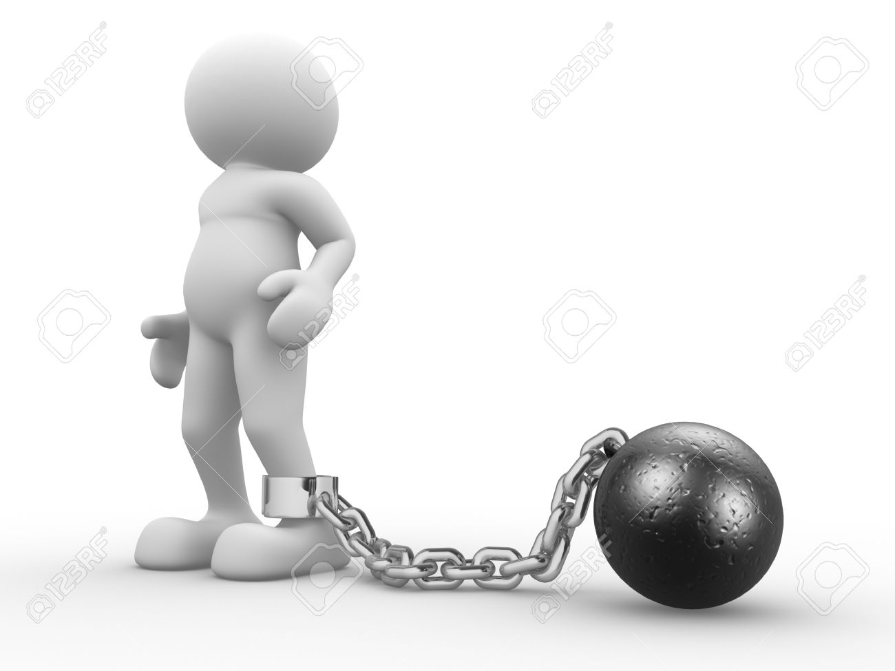 3d people human character with ball chain prisoner 3d render