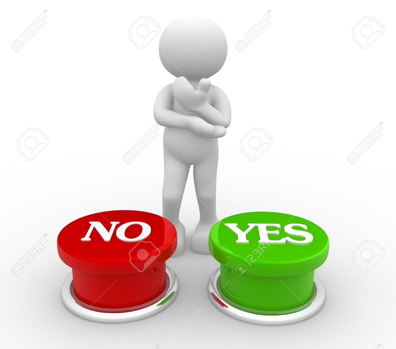 3d people-human character choosing between  yes or  no -  This is a 3d render illustration Stock Illustration - 14767080