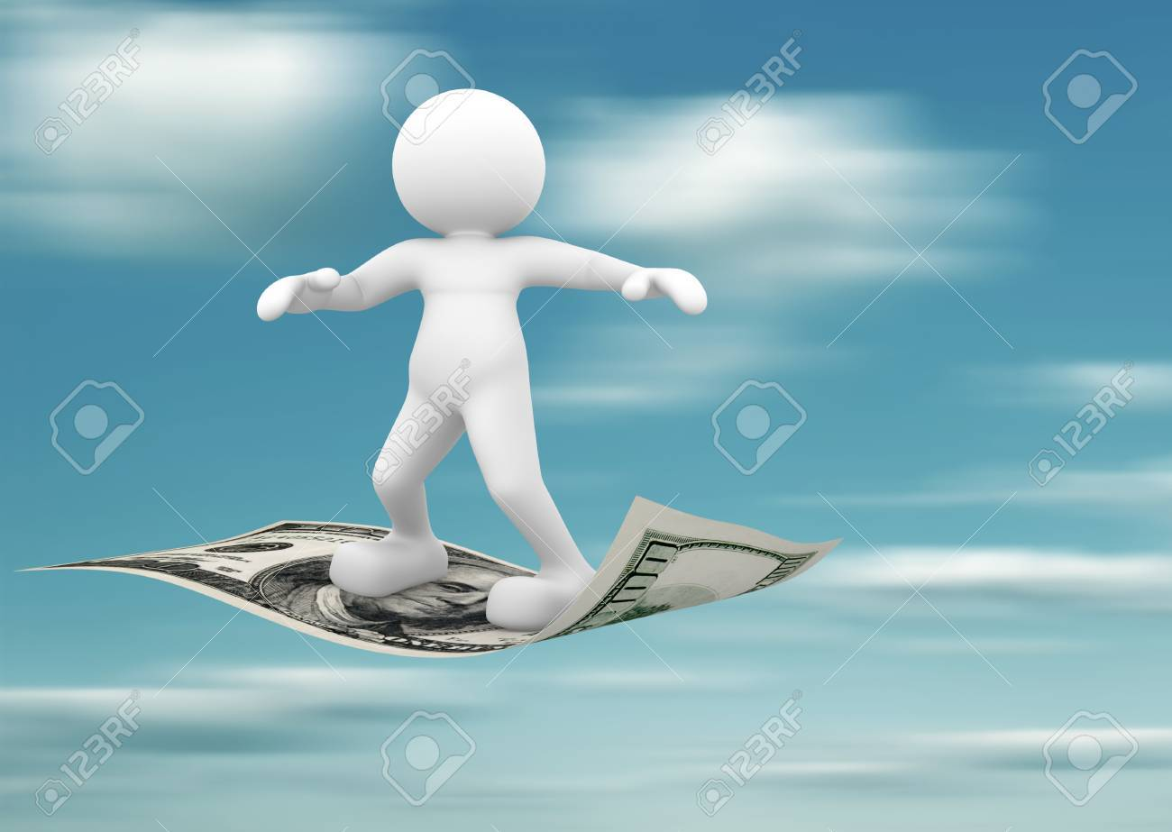 3d people - human character flying on U S  dollars  3d render illustration Stock Photo - 14767502